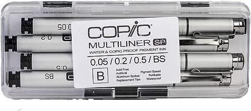 Copic Multiliner SP Waterproof Pigment Ink Pens Set B, Pack of 4, Black Ink (MLSP4B)