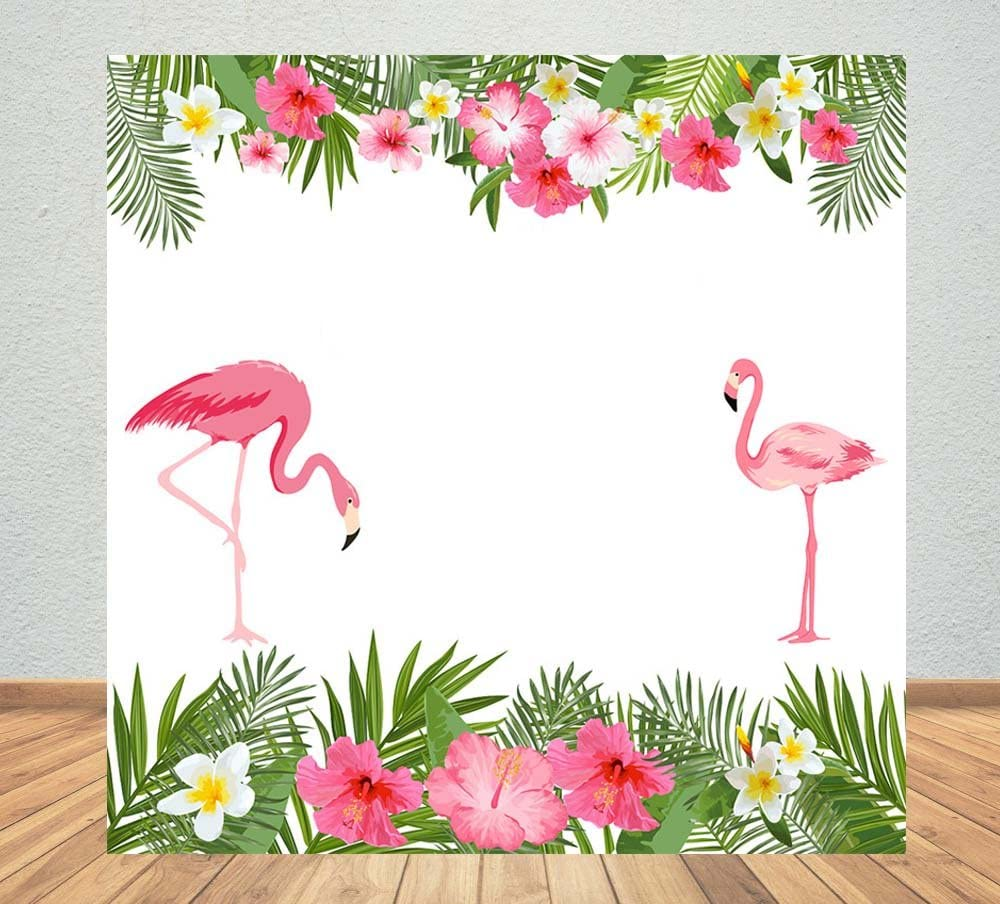 Flamingo 8x10 FT Photography Backdrop Colorful Love Valentine Flamingos Illustration Retro Circles at Back Funky Print Background for Baby Shower Bridal Wedding Studio Photography Pictures Multicolo