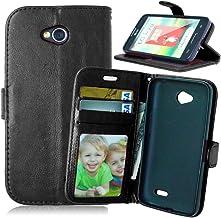 FUBAODA Funda de Piel para para LG Optimus L70, [Cable Libre] función de Soporte móvil, Cierre magnético, Ranuras para Tarjeta de crédito para para LG Optimus L70 (D320 D320N) (Negro)