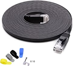 Cat 6 Ethernet Cable 25 ft (at a Cat5e Price but Higher Bandwidth) Cat6 Internet Network Cable - Flat Ethernet Patch Cable Short - Black Computer LAN Cable - Enjoy High Speed Surfing