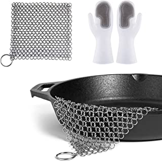 """Stainless Steel Cast Iron Cleaner 8""""x6"""" 316L and Magic Dishwashing Cleaning Sponge Gloves,Chainmail Scrubber Pan Scraper C..."""