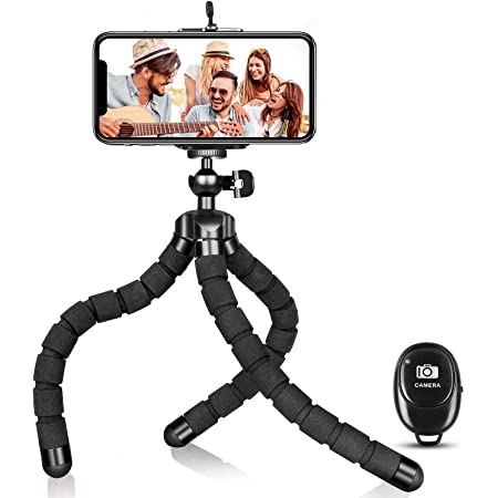 Aduro U-Stream Portable Cell Phone Tripod Stand with Wireless Remote 360/° Flexible Phone Tripod for iPhone /& Android Phones//GoPro//Camera