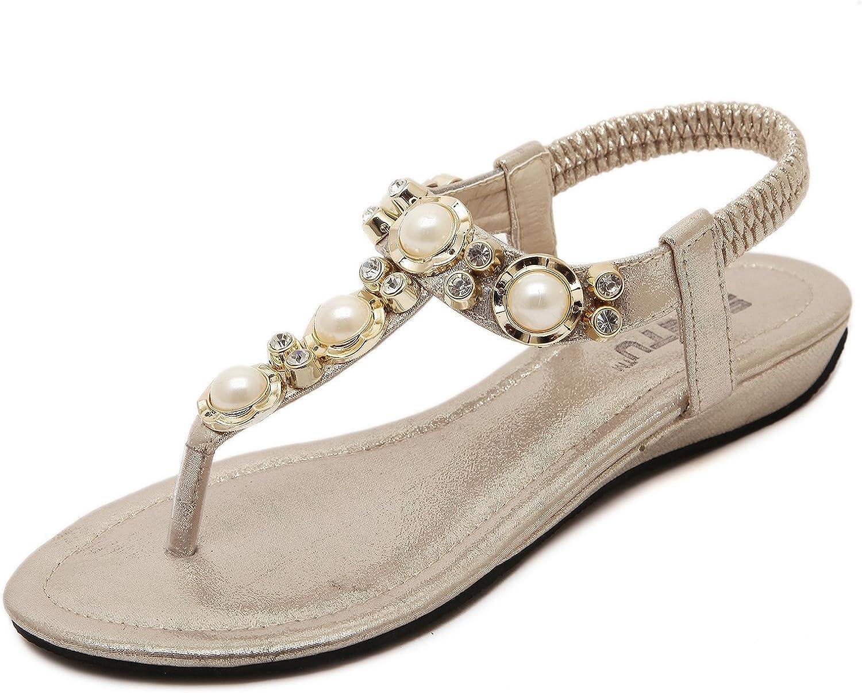 DQQ Women's Beaded Ankls Strap Thong Sandal