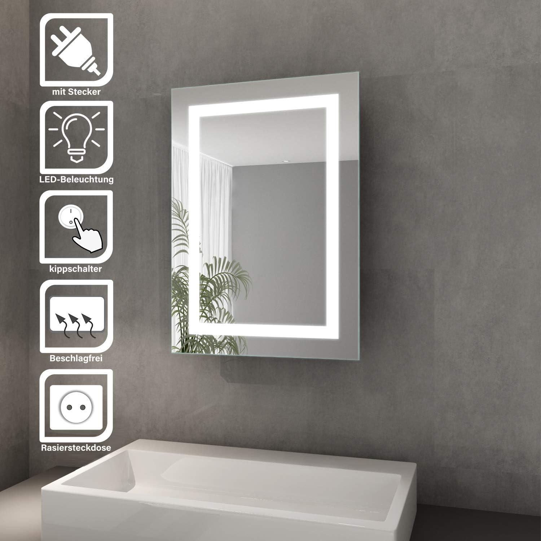 Elegant Bad Spiegelschrank mit Beleuchtung Schiebetür LED Licht  Spiegelschrank Badezimmer Hängeschrank mit Steckdose und Kippschalter 20 x  20 cm