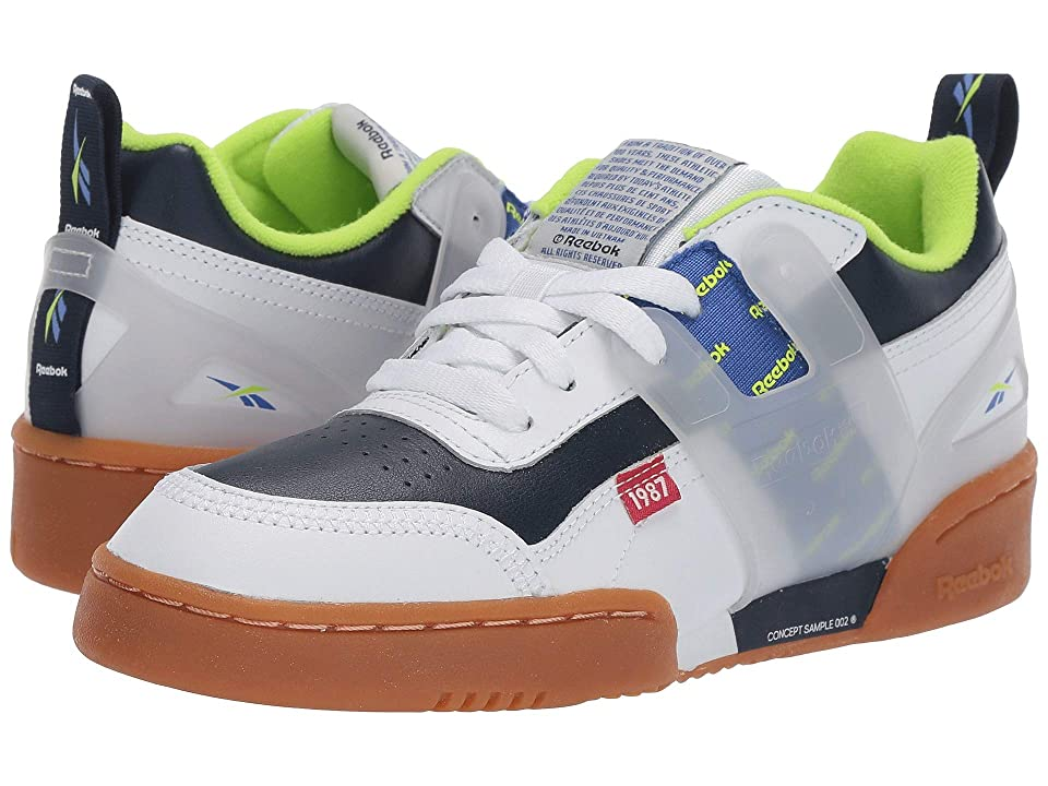 Reebok Kids Workout Plus ATI (Big Kid) (White/Collegiate Navy/Neon Lime) Kids Shoes