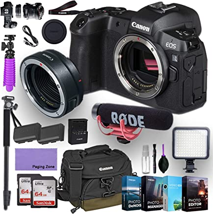 $2099 Get Canon EOS R Mirrorless Digital Camera (Body Only) and Canon Mount Adapter EF-EOS R kit Bundled with Deluxe Accessories Like Rode Microphone, High Speed Flash, 4-Pack Photo Editing Software and More…