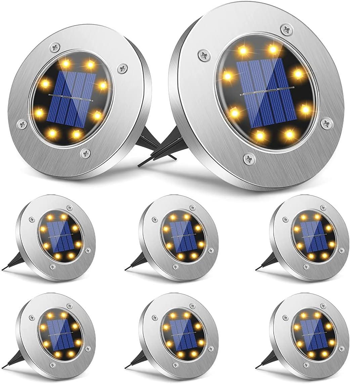 Solar Ground Lights 8 LED Disk W Popular overseas Light Outdoor Warm Popular brand in the world
