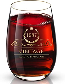 1987 32th Customized 24K Gold hand crafted luxury drinking and wine glass for wedding,anniversary,birthday,holidays and any noteworthy occasions,it's perfect gifts ideal for bridesmaids,wife and son