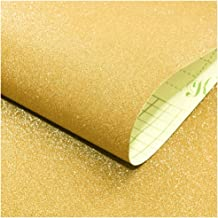 HaokHome 98001-2 Sparkly Glitter Contact Paper Peel and Stick Gold Wallpaper17.7