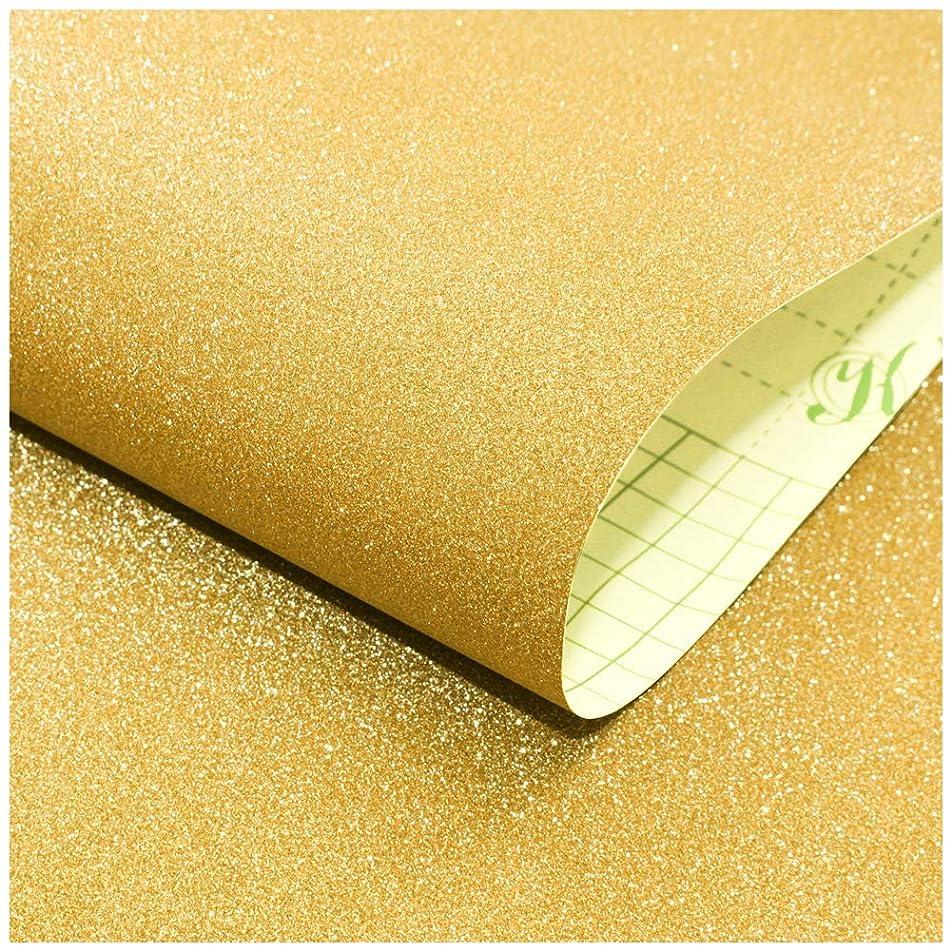 厚さユーザー優先権HAOKHOME 98001-2-3M グリッター 壁紙シール ビニール テクスチャード セルフ 接着 壁紙 はがせる ウォールズ バスルーム ベッドルーム ホーム 装飾 用 (45cm x 3m) ゴールド