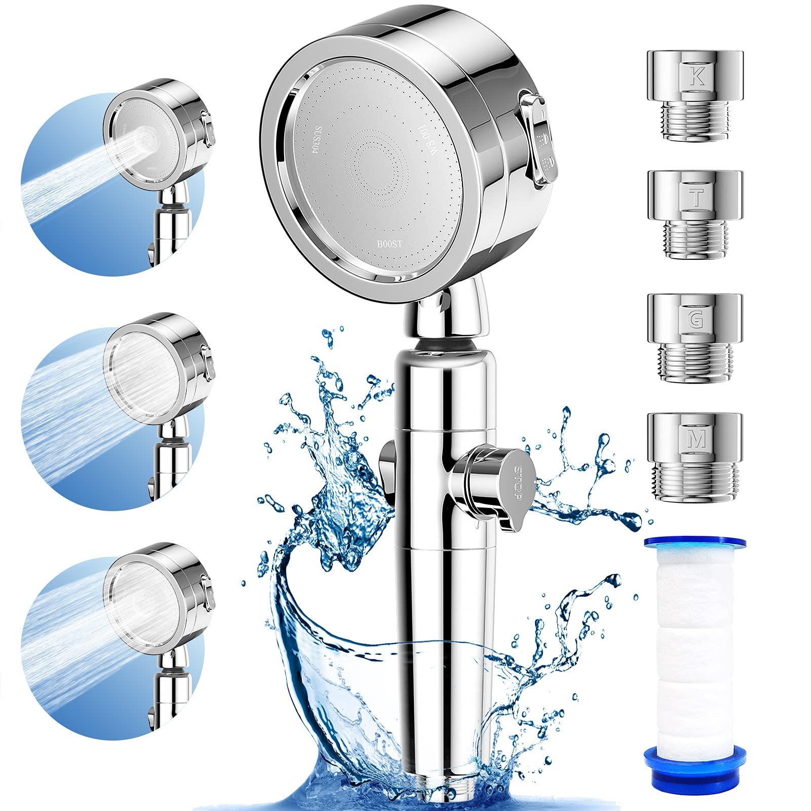 シャワーヘッド 増圧 80%節水シャワープロ 浄水 塩素除去 極細水流 しゃわーへっど 高水圧 角度調整 3階段モード 止水ボタン 取付簡単 広幅適用 水漏れ防止テープ 国際汎用基準G1/2の規格 アダプター付(シルバー); セール価格: ¥2,499