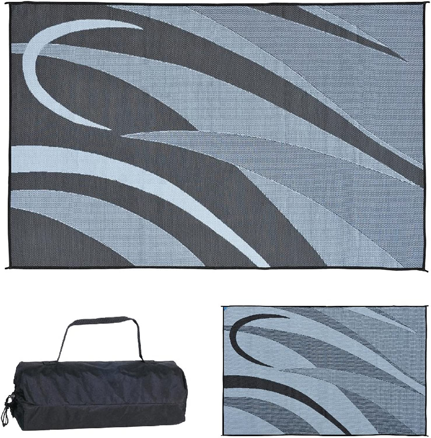 Ming's Mark GA1 Stylish Camping Reversible Graphic Patio Mat-8' x 12', Black Silver