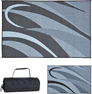 Stylish Camping GA1 Reversible Graphic Patio Mat-8' x 12', Black/Silver
