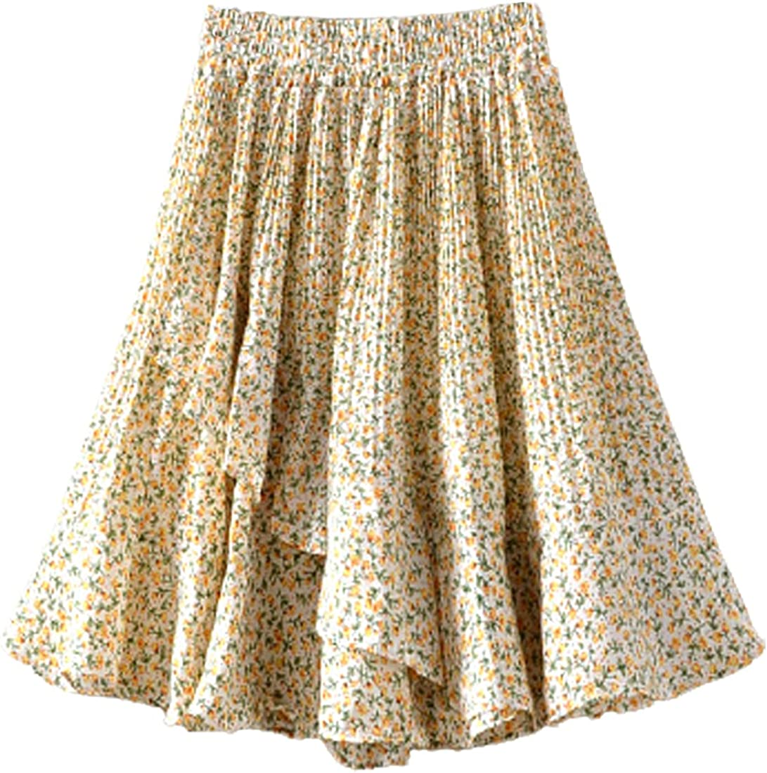 G-dress Globalwells Women High Waist Ruffle Skirt Boho Cute Pleated Chiffon Floral Print Mini Skater Skirt