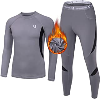 UNIQUEBELLA Mens Thermal Underwear Set Long Sleeve Tops Long Johns Thermal Base Layer Bottom Fleece Lined Quick Drying