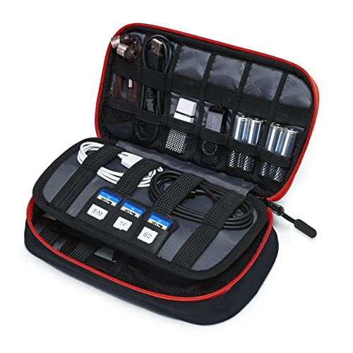 BAGSMART Electronic Accessories Bag, 3 Layer Portable Electronic Organizer Travel for Cables, Extra Batteries, Adapters, USB Sticks, SD Cards, Black