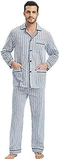 GLOBAL Mens Pyjamas Set, 100% Cotton Woven Drawstring Sleepwear Set with Top and Pants/Bottoms…