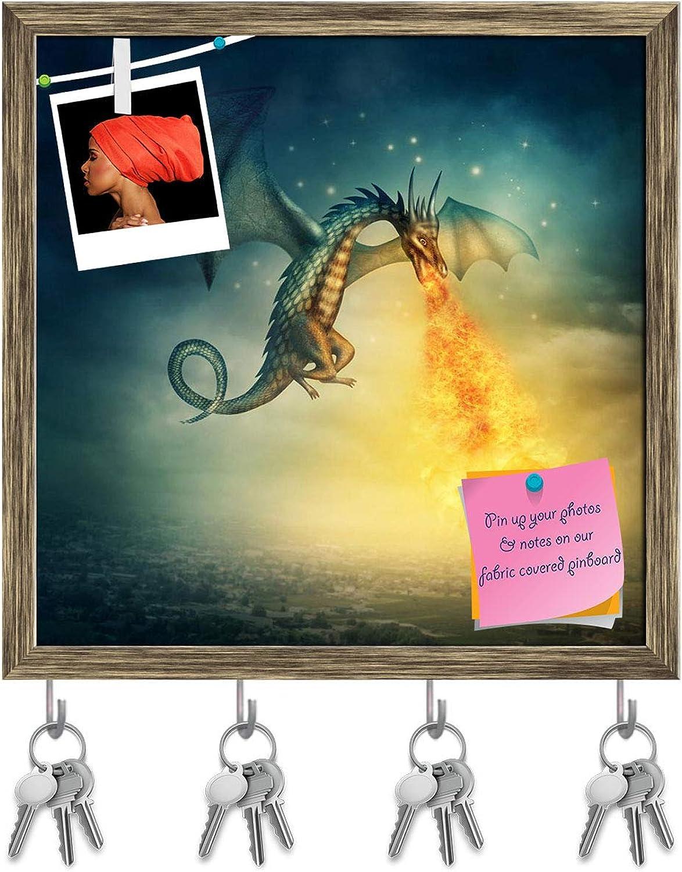 Artzfolio Fantasy Dragon Key Holder Hooks   Notice Pin Board   Antique golden Frame 20 X 20Inch