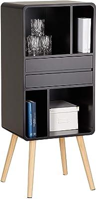 Relaxdays Étagère 5 compartiments bibliothèque bois 4 pieds commode tiroir amovible table chevet 114 x 47 x 38 cm, noir