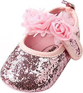 Baby Girls Lace Flowers Bow Mary Jane Princess Shoes No-Slip First Walkers Shoes