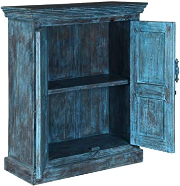Floral Hand Carved Indian Solid Wood 2 Door Buffet Cabinet Handmade Handicraft (Made to Order)