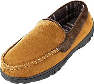 Mens Cozy Memory Foam Moccasin Slippers Microsuede Slip On Slippers Anti-Slip Loafers Shoes Indoor