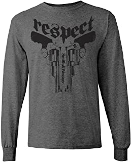 S&W Respect Long Sleeve Tee in Nickel Heather - Officially Licensed