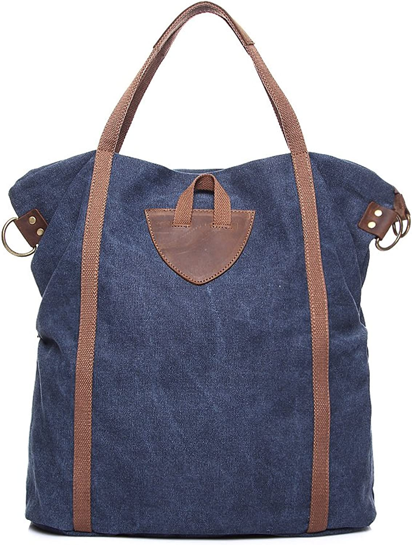 Ladies Vintage Shoulder Diagonal Canvas Bag Large Capacity Shoulder Bag Crazy Horse Leather Bag (color   bluee, Size   M)