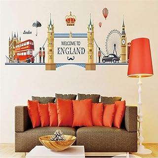 aipipl Célèbre Londres Paysage Stickers muraux pour Salon décoration de la Maison Fond PVC Avion Porte Murale Bricolage Eu...