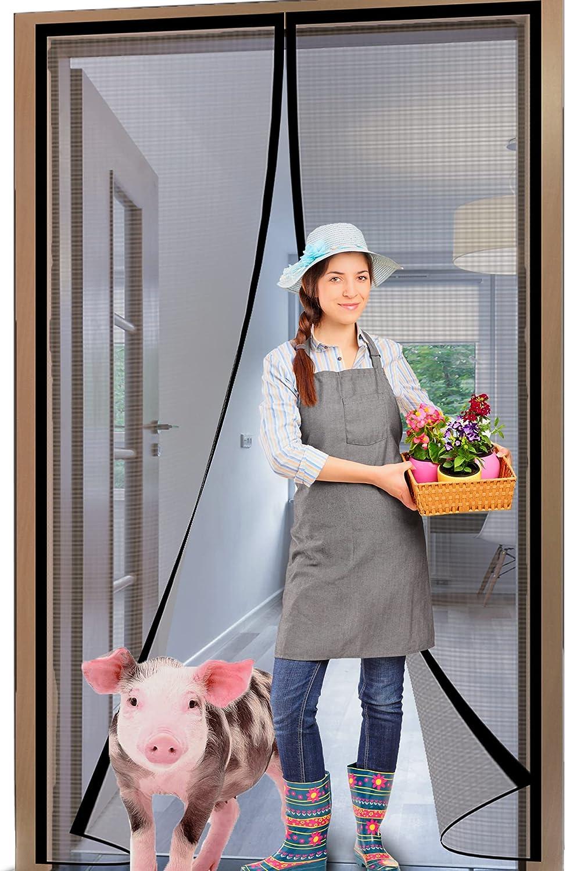 YUFER Magnetic Screen Door 32×80 Reinforced Fiberglass Screen Door Magnets Screen for Doorway Sliding Door mesh with Full Frame Hook&Loop - Grey