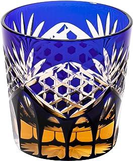 江戸切子 六角籠目紋 冷酒杯(琥珀ルリ)TB91652AB 木箱入り 太武朗工房直販 日本製