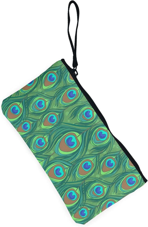 AORRUAM Green peacock feather Canvas Coin Purse,Canvas Zipper Pencil Cases,Canvas Change Purse Pouch Mini Wallet Coin Bag