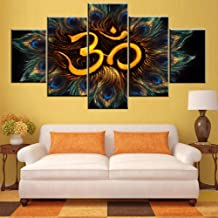 5 Piece Hinduism Canvas Wall Art Sanskrit Aum Pictures Hindu Religion Symbol Artwork Black and White Painting Living Room Home Decor Wooden Framed Ready to Hang Posters and Prints(60''Wx 32''H)