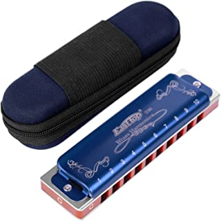 Anwenk Harmonica Key of C 10 Hole 20 Tone Harmonica C Blues with Case Top Grade Heavy Duty for Professional Player,Beginner,Students,Children,Kids Gift(East Top)- Blue