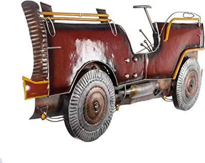 Collectible India Contemporary Designed Metal Red Car Jeep Wall Mounted Hanging Rustic Vintage Showpiece Arts Sculpture(Size 45 x 18 Inches)