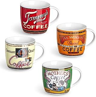 LIFVER Porcelain Coffee Mugs Set, Retro Nostalgic Mug for Housewarming Gift, 11 Ounces, Set of 4