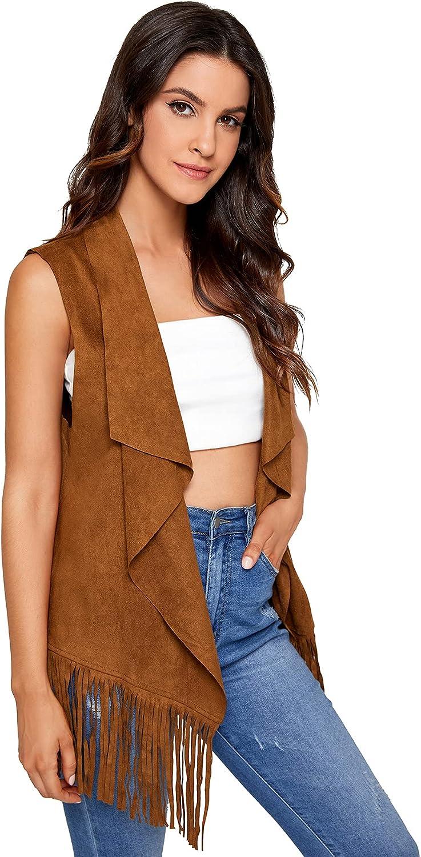 SheIn Women's Fringe Hem Sleeveless Cardigan Vests Draped Open Front Jacket Coat