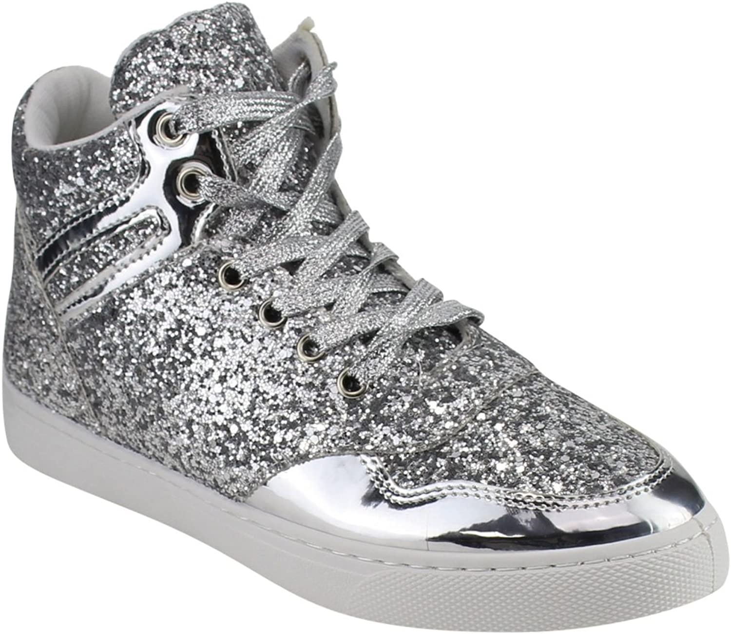 Forever FP64 Women's Glitter Lace up Ankle High Top Street Sneakers