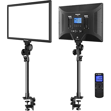"""Dazzne Desk Mount LED Video Light C-Clamp Stand Kit 2 Pack 15.4"""" Large Panel 3000K-8000K 45W 3600LM Dimmable 0-100% Brightness Soft Light for YouTube Game Video Shooting Live Stream Photography"""