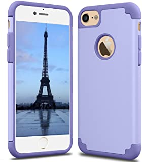 CaseHQ iPhone 7 Case, iPhone 8 Case,slim Dual Layer Silicone Rubber PC Protective Case Fit for iPhone 7 (4.7 screen),iPhone 8 (4.7 screen) Hybrid Hard Back Cover and Soft Silicone-light purple