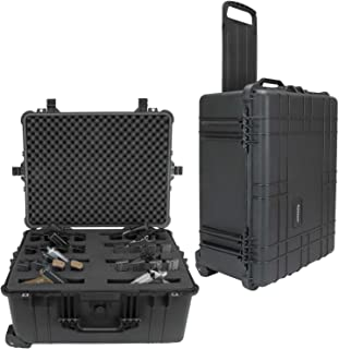 Elkton Outdoors Rolling Hard 8 Pistol Gun Case Retractable Handle and Wheels, Fully Customizable Hand-Gun Pistol Case Holds 8 Pistols 16 Magazines Plus Gear, Crush Resistant and Waterproof