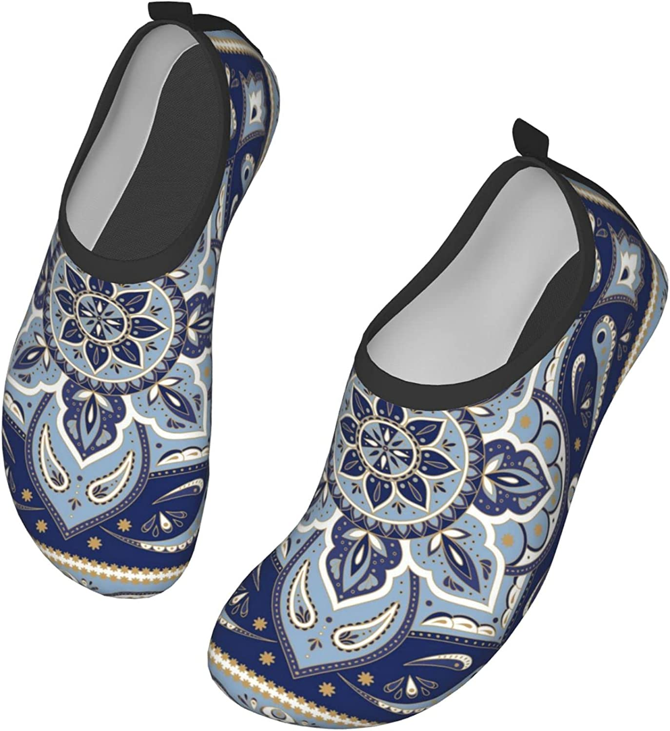 Floral Indian Paisley Water Shoes Quick-Dry Aqua Yoga Socks Beach Swim Sports Outdoor Beach Pool Shoes for Women and Men 15 inch