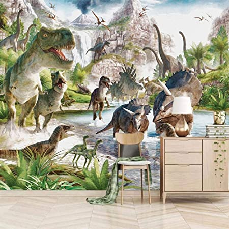 Wallpaper Mural 3D Dinosaur World Mural Peel & Stick Wall Decal Wall Art Child Gift for Kid Room Nursery Bedroom Wall Home Decor Poster Mural Wallpaper-200X140cm