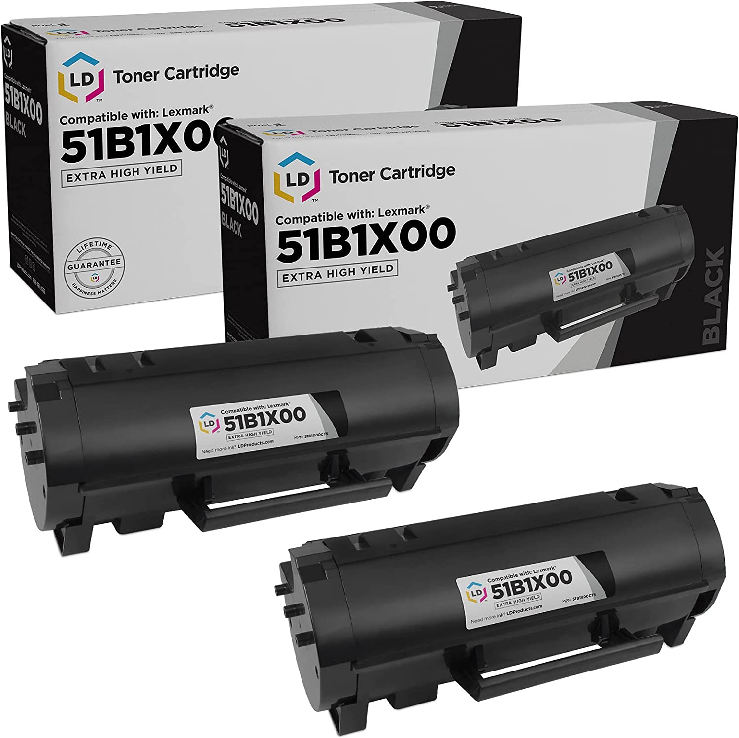LD Compatible 無料 Toner Cartridge Replacements Lexmark 51B1X00 for 買い取り E
