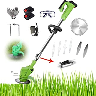 Electric Lawn Mower Grass Trimmer Portable Cordless Household Handheld Lightweight Rechargeable Dethatcher Brush Push Wee...