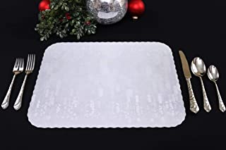 Large Scalloped Paper Placemats, 50 Pack (Xmas, Christmas, Decoration, Holiday, Wedding, Banquet) (Silver/Gray Celebration)