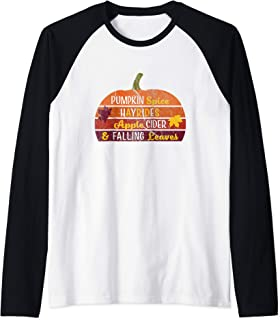 Adorable Pumpkin Spice Hayrides Apple Cider & Falling Leaves Raglan Baseball Tee