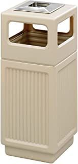 Safco Products Canmeleon Outdoor/Indoor Recessed Panel Trash Can with Ash Urn 9474TN, Tan, Decorative Fluted Panels, Stainless Steel Ashtray, 15 Gallon Capacity