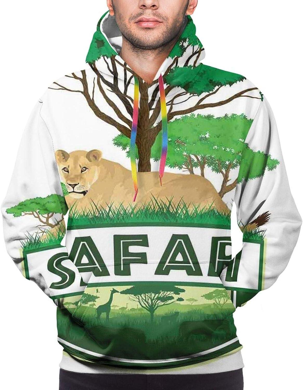 Men's Hoodies Sweatshirts,African Savannah Mammal in Simplistic Striped Zoo Wilderness Bird Pattern