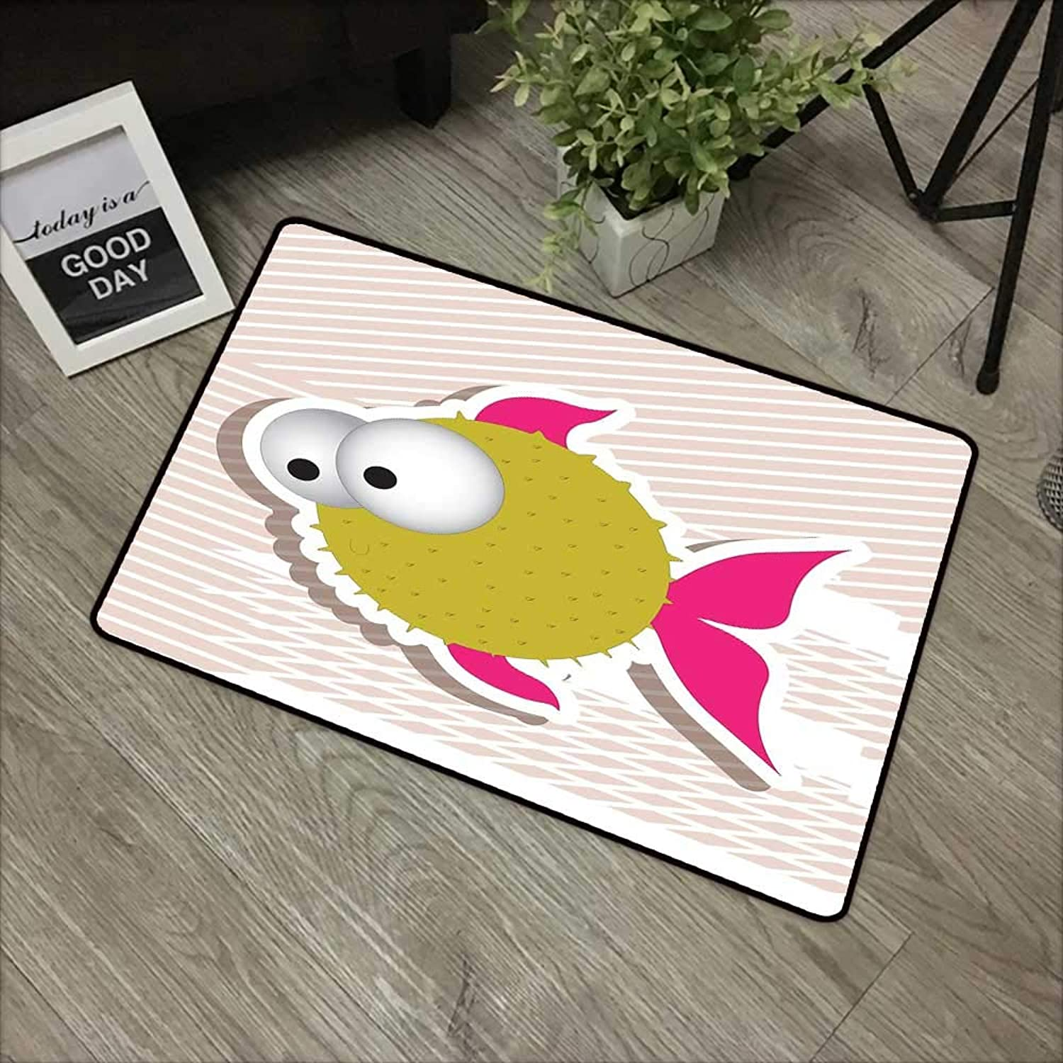 Bathroom anti-slip door mat W35 x L59 INCH Fish,Comical Illustration of a Bubble Fish Abstract Blowfish with Huge Eyes,Fuchsia gold Pearl White Easy to clean, no deformation, no fading Non-slip Door M